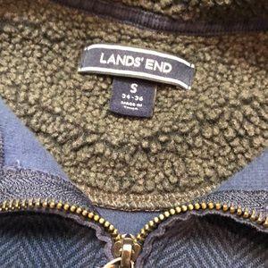 Lands End Herringbone 1/4 Zip 100% Cotton
